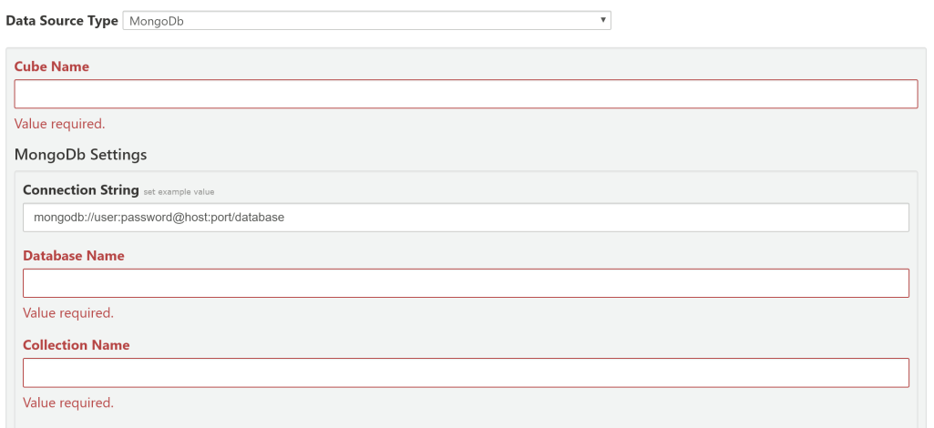 MongoDb connection settings form