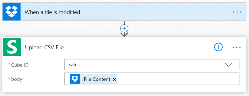 Refresh CSV cube with MS Flow